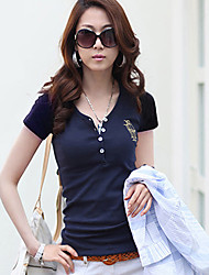 Damen Solide Einfach Lässig/Alltäglich T-shirt,V-Ausschnitt Sommer Kurzarm Blau / Weiß / Schwarz Baumwolle Mittel