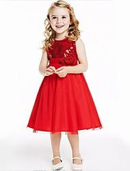 Бальное платье длиной до колена цветок девушка платье - хлопок тюль блестками без рукавов жемчужина шеи с блестками