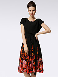 Yalun™ Women's Plus Size Casual Vintage Slim Dress