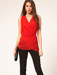 Miyue Women's Chiffon Solid Color Waisted Blouse