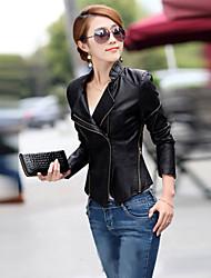 O novo Slim jaqueta de couro pu moda feminina