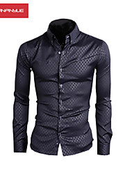 MANWAN WALK®Men's Fashion Dark Grain Lattice Silm Long Sleeve Shirt