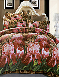 Mingjie Purple Flowers Brown 3D Bedding Sets Queen Size Bed Linen China Duvert Cover Sets