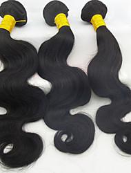 """3pcs / lot 10 """"-28"""" brasileiros melhores extensões de cabelo humano mesma polegadas ondulação natural do corpo preto cabelo tecer não transformados"""