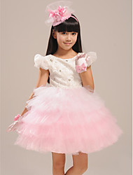 Ball Gown Knee-length Flower Girl Dress - Lace/Organza Short Sleeve