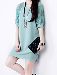 Women's Casual/Lace Round ½ Length Sleeve Dresses (Cotton Blend)