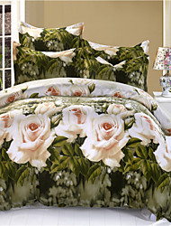 Mingjie Big White Flowes and Green Plants 3D Bedding Sets Queen Size Bed Linen China Duvert Cover Sets