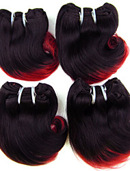 "4Pcs/Lot 8"" Brazilian Virgin Hair 1B/Red Ombre Hair Human Hair Short Body Wave Wholesale Cheap Price"