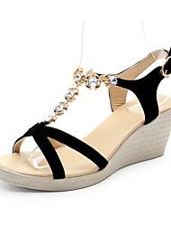 Women's Sandals Basic Pump Leather Spring/Fall Summer Wedding Casual Office & Career Party & Evening Dress Basic Pump RhinestoneWedge