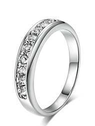 HKTC 18k White Gold Plated Top Class Small Pcs Rhinestones Studded Eternity Wedding Ring