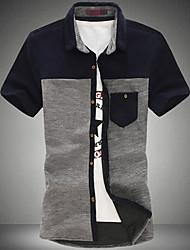 Masculino Camisa Casual / Tamanhos Grandes Cor Solida Manga Curta Misto de Algodão Azul / Amarelo / Cinza