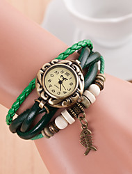 Original High Quality Women Genuine Leather Vintage Watches Bracelet Wristwatches fish Brone Pendant Relogio Feminino