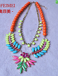 European and American Bright diamond beaded necklace short female accessories