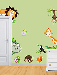 Wall Stickers Wall Decals, Style The Zoo Giraffe Monkey PVC Wall Stickers