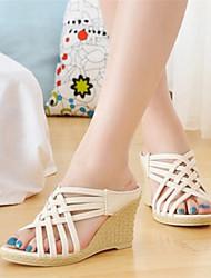 Keilabsatz - 6-9cm - Damenschuhe - Sandalen ( PU , Schwarz/Weiß/Mandelfarben )