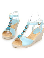 Women's Shoes Leatherette Wedge Heel Wedges/Slingback Sandals Dress Blue/Pink/White