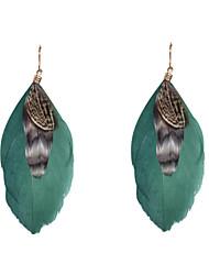 Fashion Women Feather Drop Earrings