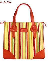 Kate@Co.® Women's Orange Pvc Figured Cloth Candy Stripe COLorful Floral Print Multifunctional Canvas Bag(14 Inch)