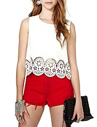 Women's Sexy/Beach/Casual Micro-elastic Sleeveless Short Blouse