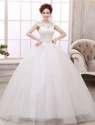 Ball Gown Petite Wedding Dress Floor-length Scoop Lace / Satin / Tulle