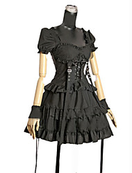 Short Sleeve Short Black Cotton Punk Lolita Dress