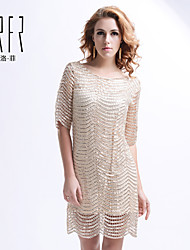 KRFR®Women's Sexy/Casual/Plus Sizes Micro-elastic ½ Length Sleeve Above Knee Dress (Polyester)