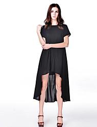 Vestidos ( Algodón )- Bonito/Fiesta/Trabajo Redondo Manga Corta para Mujer
