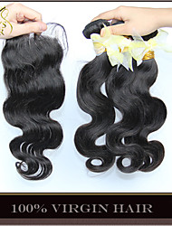 3 Bundles Cambodian Virgin Hair Body Wave With Closure Unprocessed Human Hair Weave And Free/Middle/3 Part Lace Closures