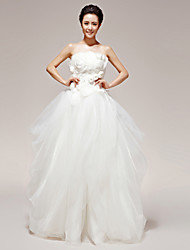 Princess Wedding Dress Floor-length Strapless Organza / Tulle with