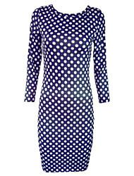 Spring Autumn 2015 New Fashion Women Sexy Dress Three Quarter Sleeve O-Neck Purple Dots Printed Bandage Dress