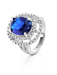 Women's Platinum Plated Ring With Cubic Zirconia