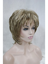 "New  Fluffy Wave Short 14"" Women's Wigs Light Brown With Blonde Highlight Synthetic Hair Full Wig"