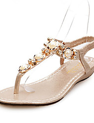 Women's Shoes Leather Polyester Flat Heel Platform All-match Rhinestone Sandals Comfortable Summer A tight