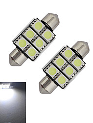 JIAWEN® 2pcs Festoon 36mm 1.5W 6x5050SMD 100-150LM 6000-6500K Cool White Light LED Car Light (DC 12V)