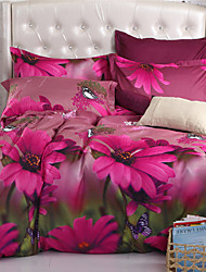 Mingjie Purple Flowers and Butterfly 6D Bedding Sets 4PCS Queen Size and Full Size Bed Linen China Duvert Cover Sets