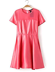 Women's Europe Summer Contracted O-Neck Short Sleeve Dresses