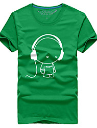 Man couple with the summer short sleeve T-shirt headphones # 061
