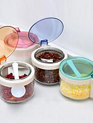 Lidded Glass Transparent Colorful Spice Serving Jars (Random Color)