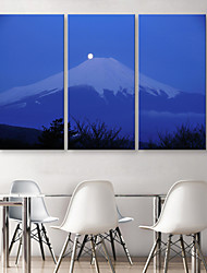E-HOME® Stretched Canvas Art The Snow Capped Mountains of Moonlight Decoration Painting  Set of 3