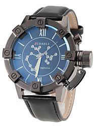 Men's Sagittarius Pattern Black Leather Band Quartz Wrist Watch