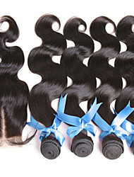4Pcs/ Lot Peruvian Virgin Hair With Closure 3 Bundles Unprocessed Peruvian Body WaveWith Lace Closure