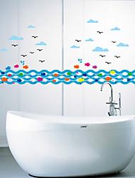 настенные наклейки Наклейки на стены, синие брызги рыбы наклейки стены PVC
