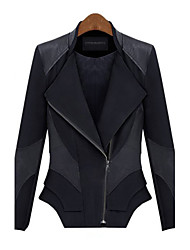 2015 Spring New Arrival Women Jacket PU Leather Patchwork Long Sleeve Asymmetric Inclined Zipper Women Coat in Stock