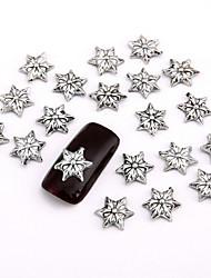 10PCS Grey Silver Nail Art Jewellry Punk Chrome Hearts Aryclic Nail Tips Decorations Nail Art Glitters for Nails