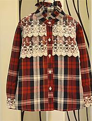 Girl's Fashion Lace Grid Long Sleeve Shirts