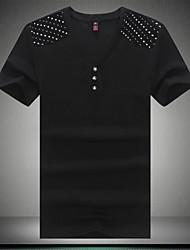 T-Shirts ( Algodão Organico ) MEN - Casual Decote em V - Manga Curta