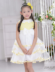Flower Girl Dress Knee-length Organza Ball Gown Sleeveless Dress