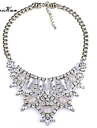 Women's Faceted Color Gem Rhinestone Tirangle Bid Statement Necklace Crystal Necklace