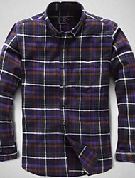 U&Shark New Hot! Men's Sanded 100% Cotton Leisure Flannel Long Sleeve Shirt with Green Blue Cooffe Black Check/QFL010