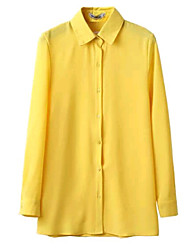 Women's Yellow Color Chiffon Full Sleeve  Turn-down Collar Shirt